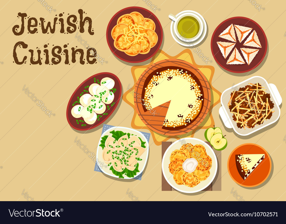Jewish cuisine dinner menu with dessert icon vector