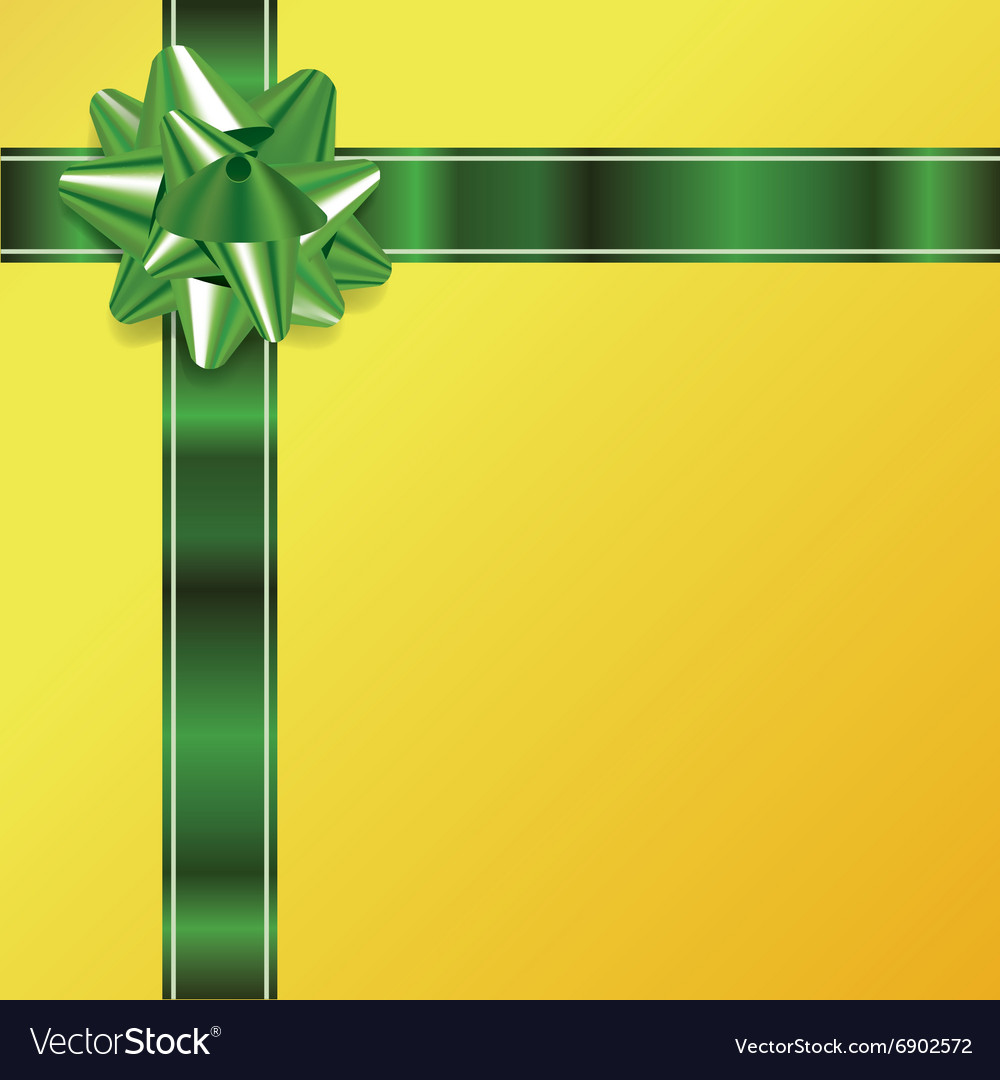 Green yellow present bow and ribbon background vector