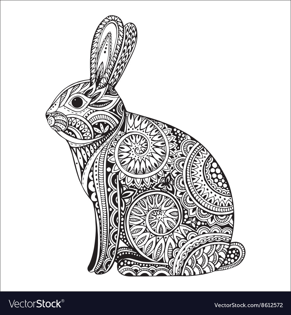 Hand drawn ornate rabbit with ethnic floral doodle vector