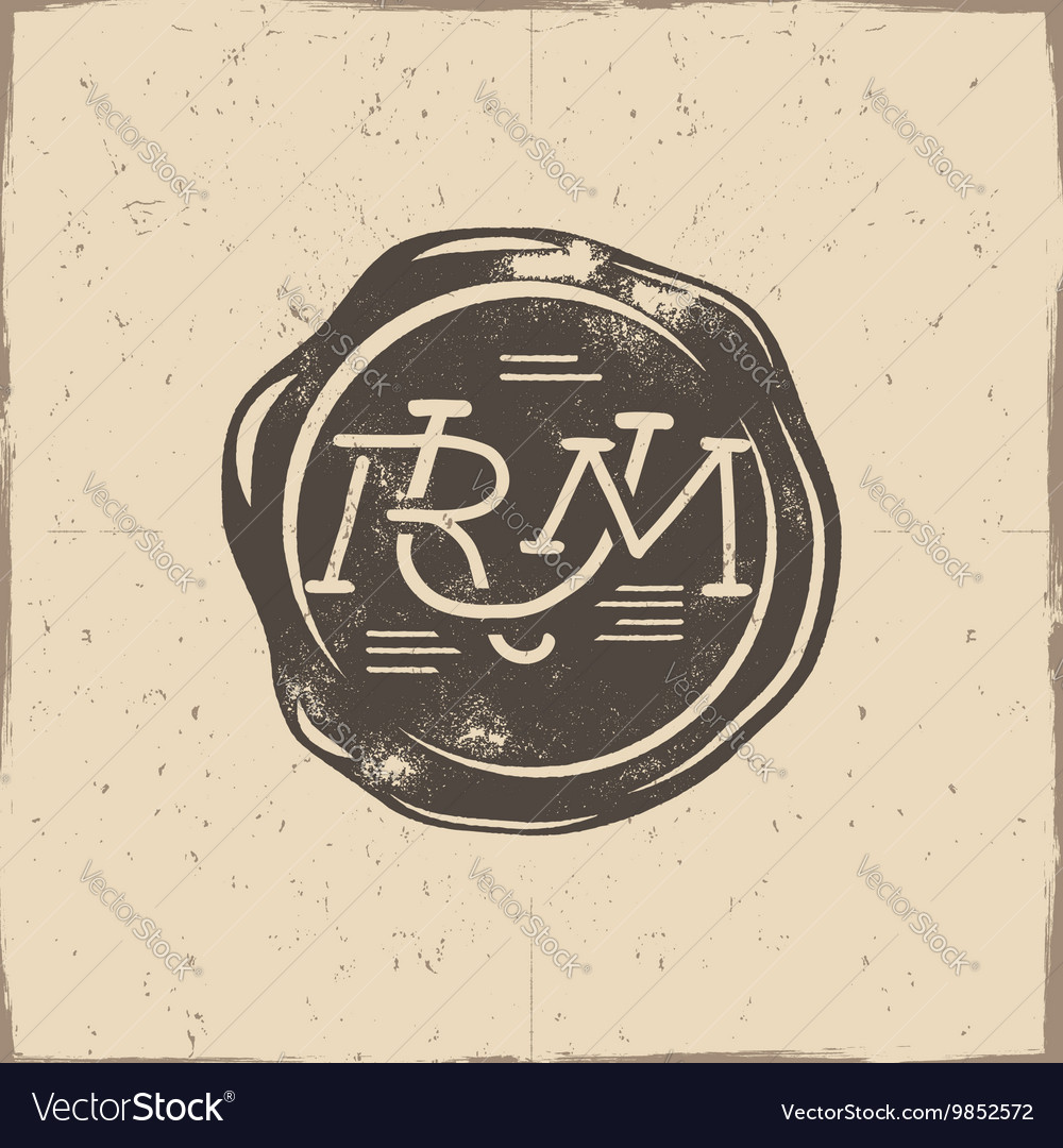 Vintage handcrafted wax seal template with vector