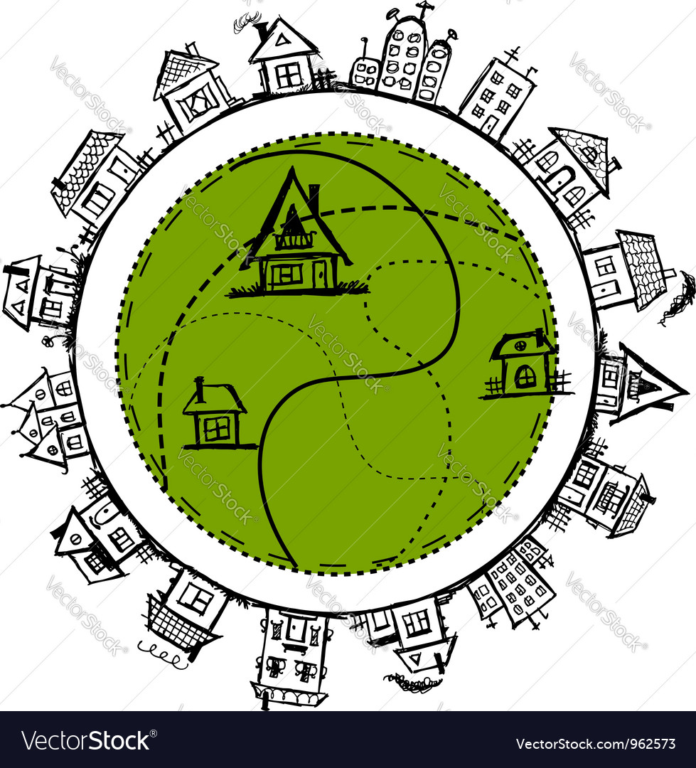 Happy village frame with houses for your design vector
