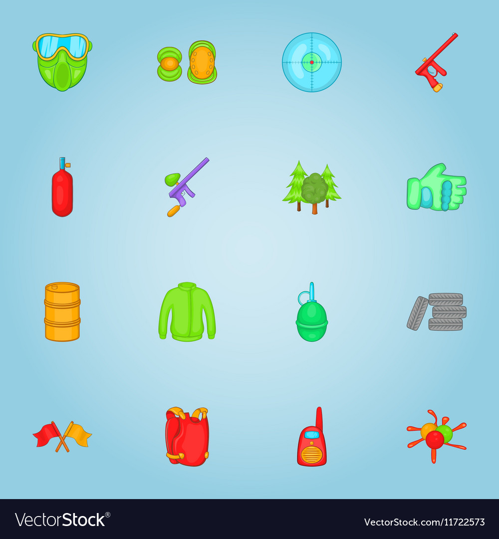 Paintball icons set cartoon style vector