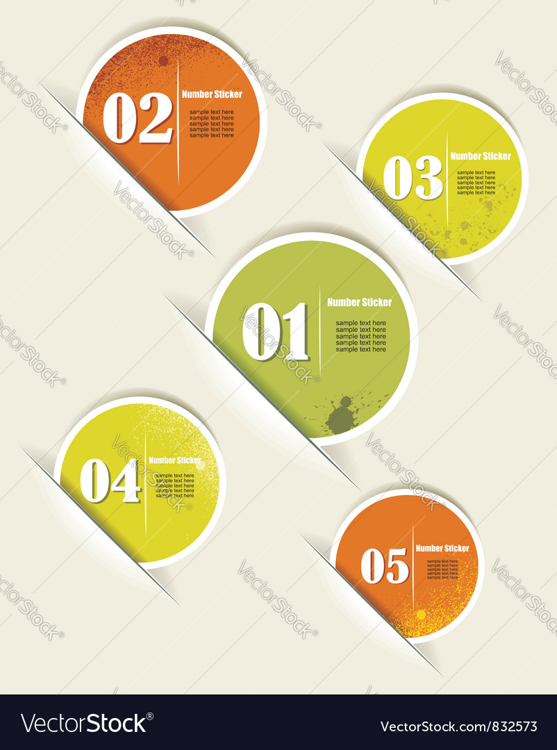 Set of colorful sample stickers with numbers vector