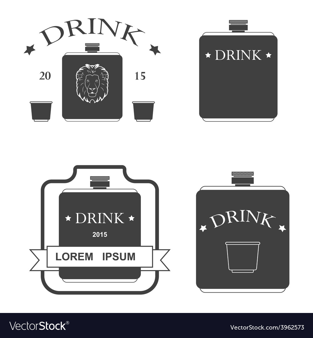 Set of logos for drinking vector