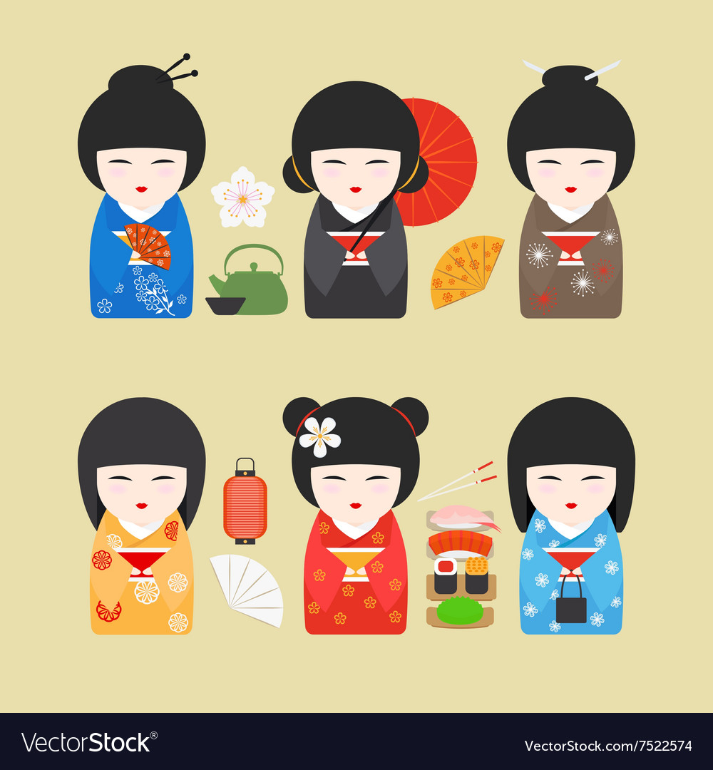 Japan dolls with fans and lanterns vector