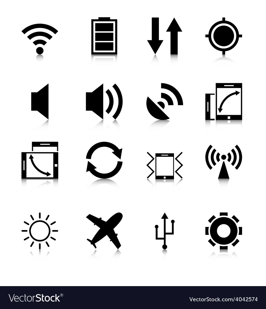 Mobile app icons with reflection vector