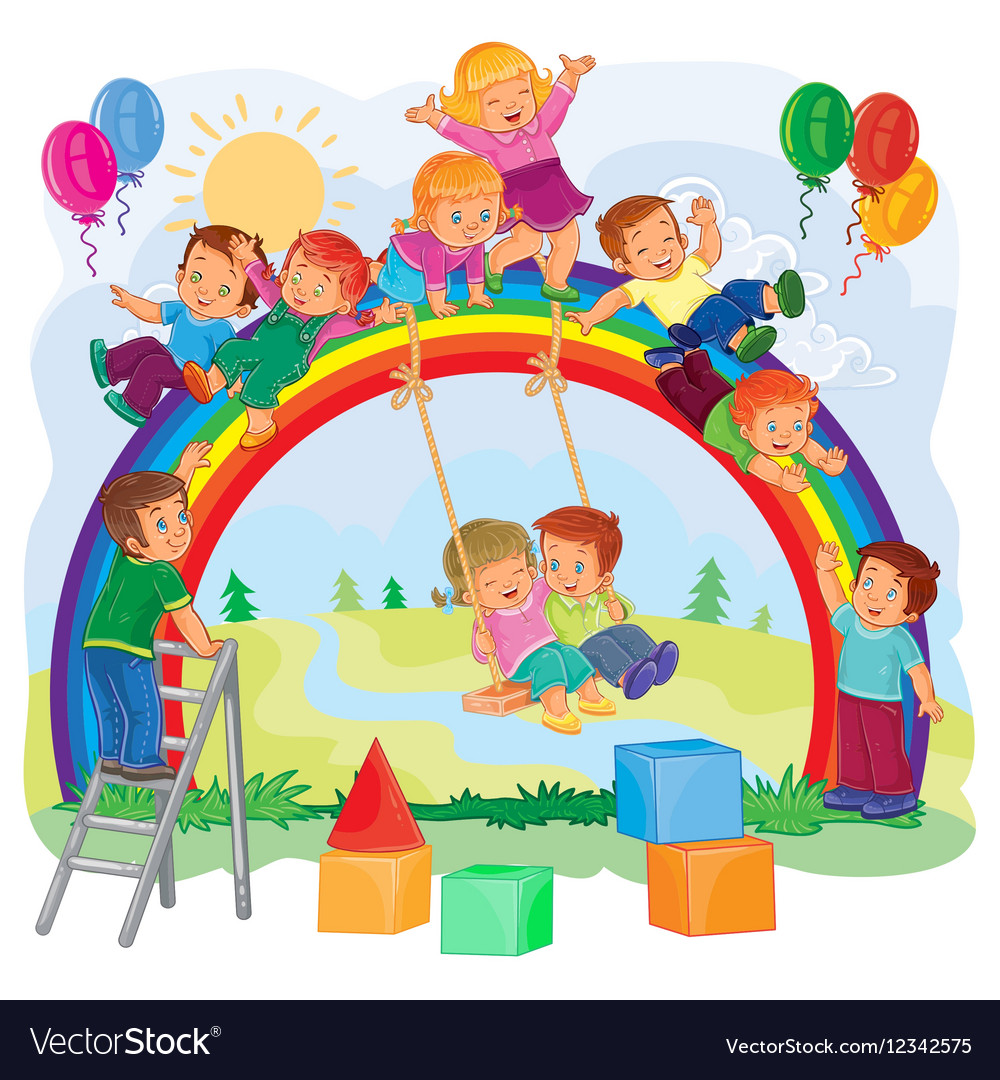 Carefree young children playing on the rainbow vector
