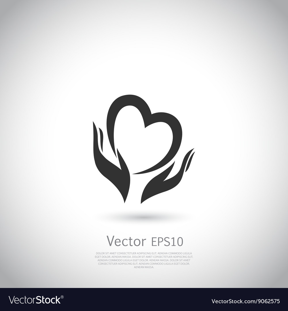 Hands holding heart symbol sign icon logo vector