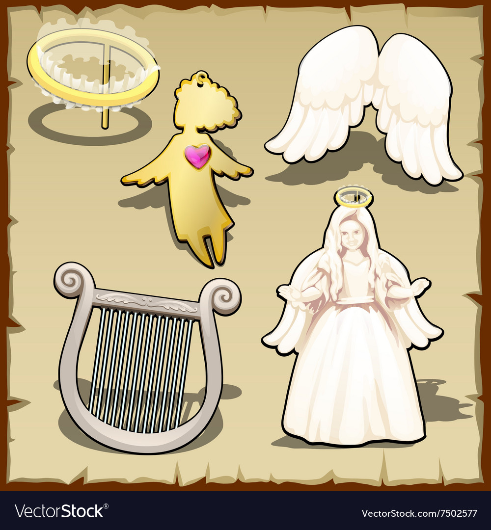 Set of angelic halo harp wings and other vector
