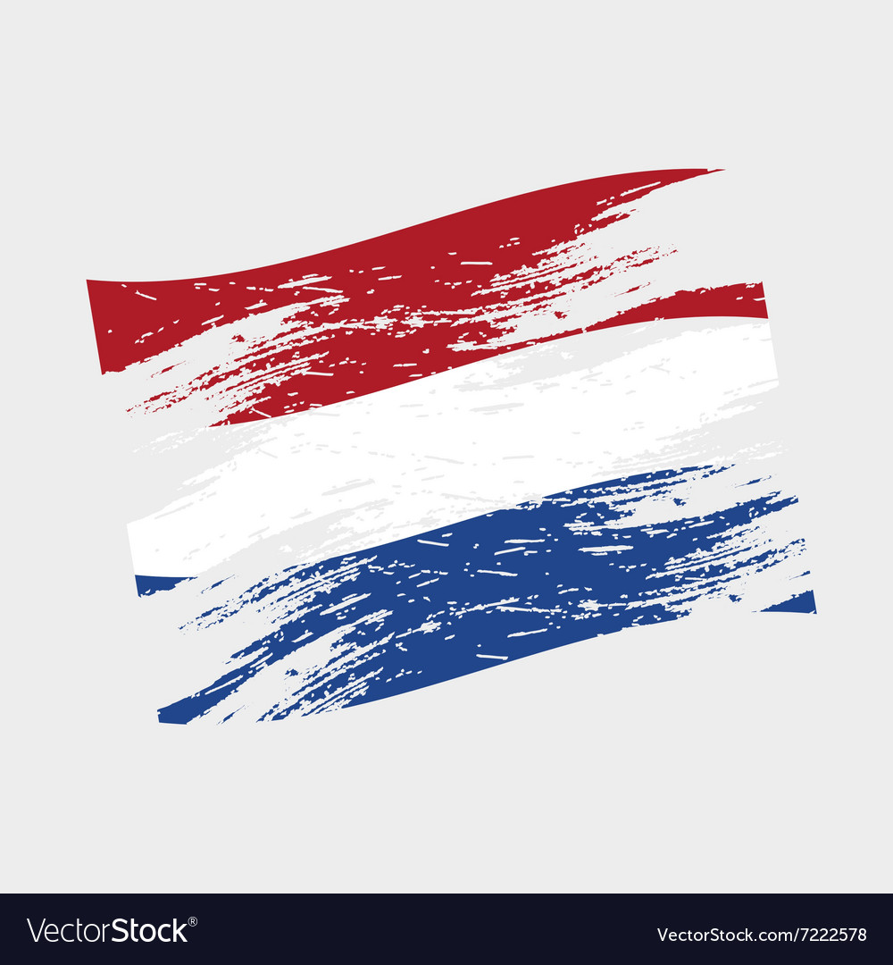 Color netherlands national flag grunge style eps10 vector
