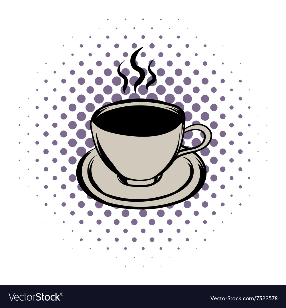 Cup of hot drink comics icon vector