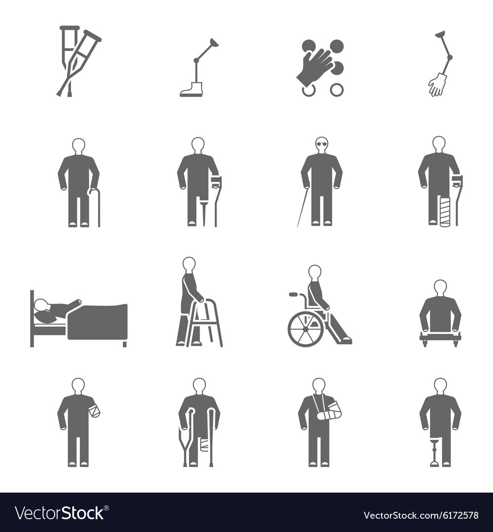Disabled people icons set vector