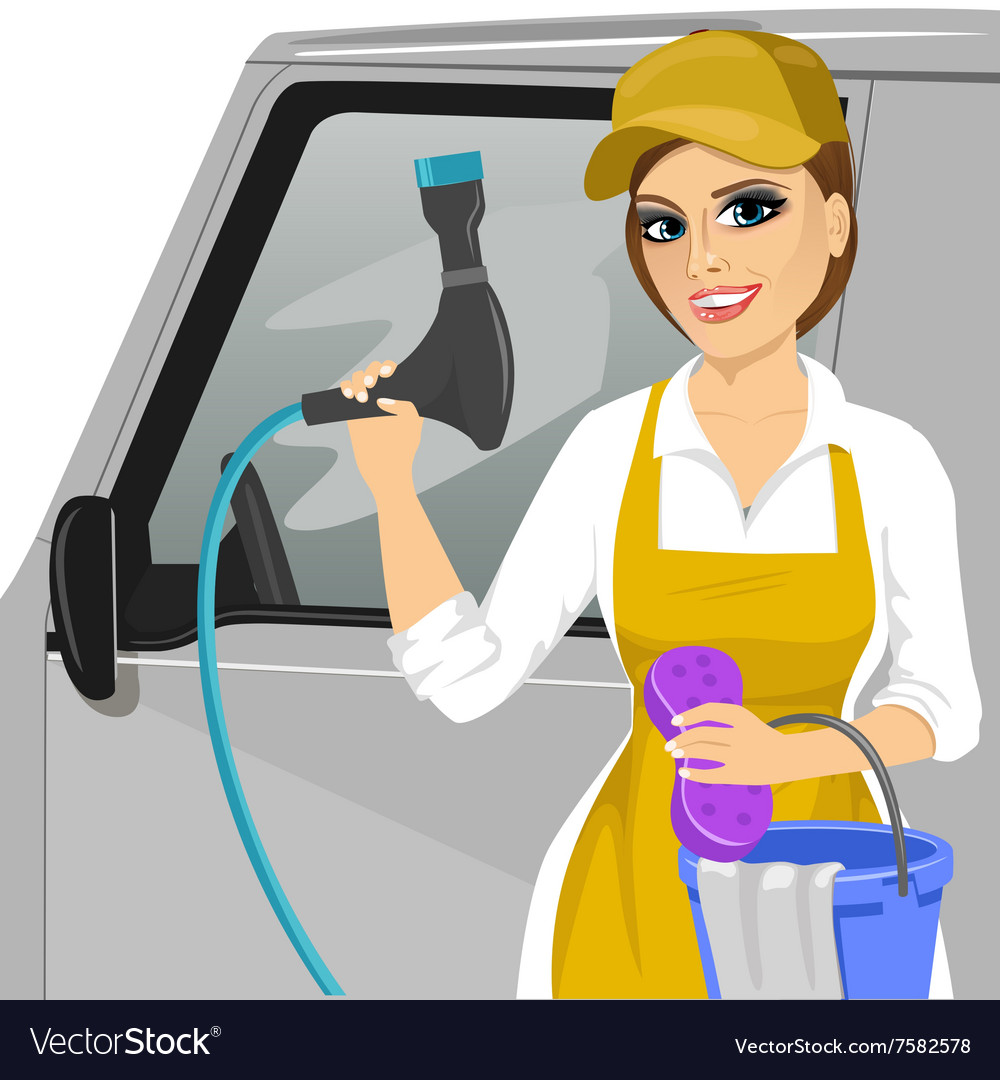 Girl with a soapy sponge and hose to wash a car vector