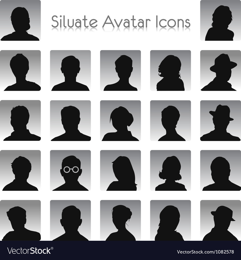 Set of silhouettes of avatar vector