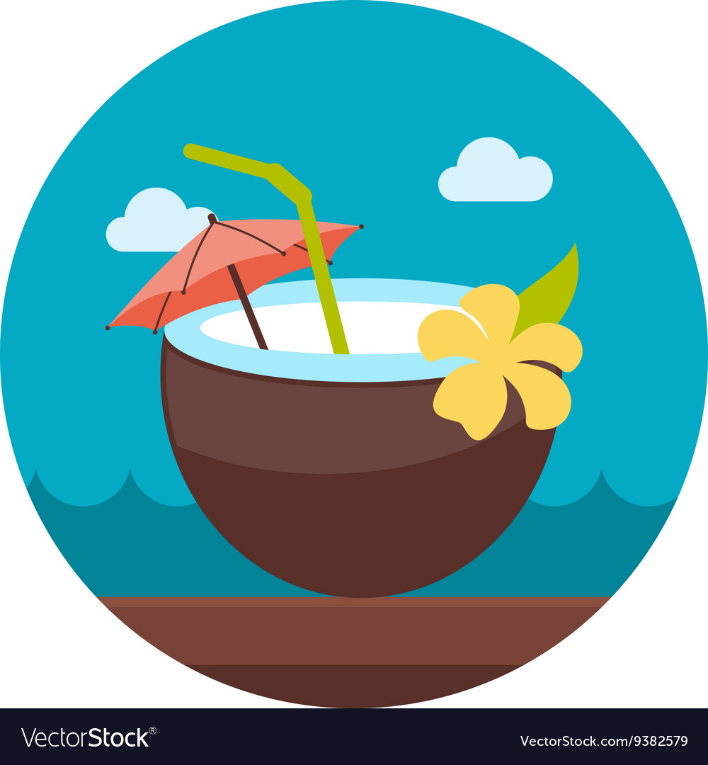 Coconut drink with straw icon summer vacation vector
