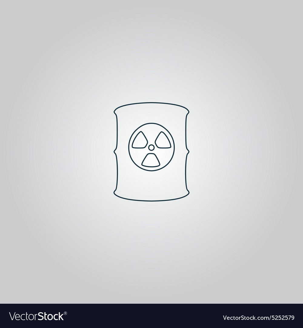 Container with radioactive waste icon vector