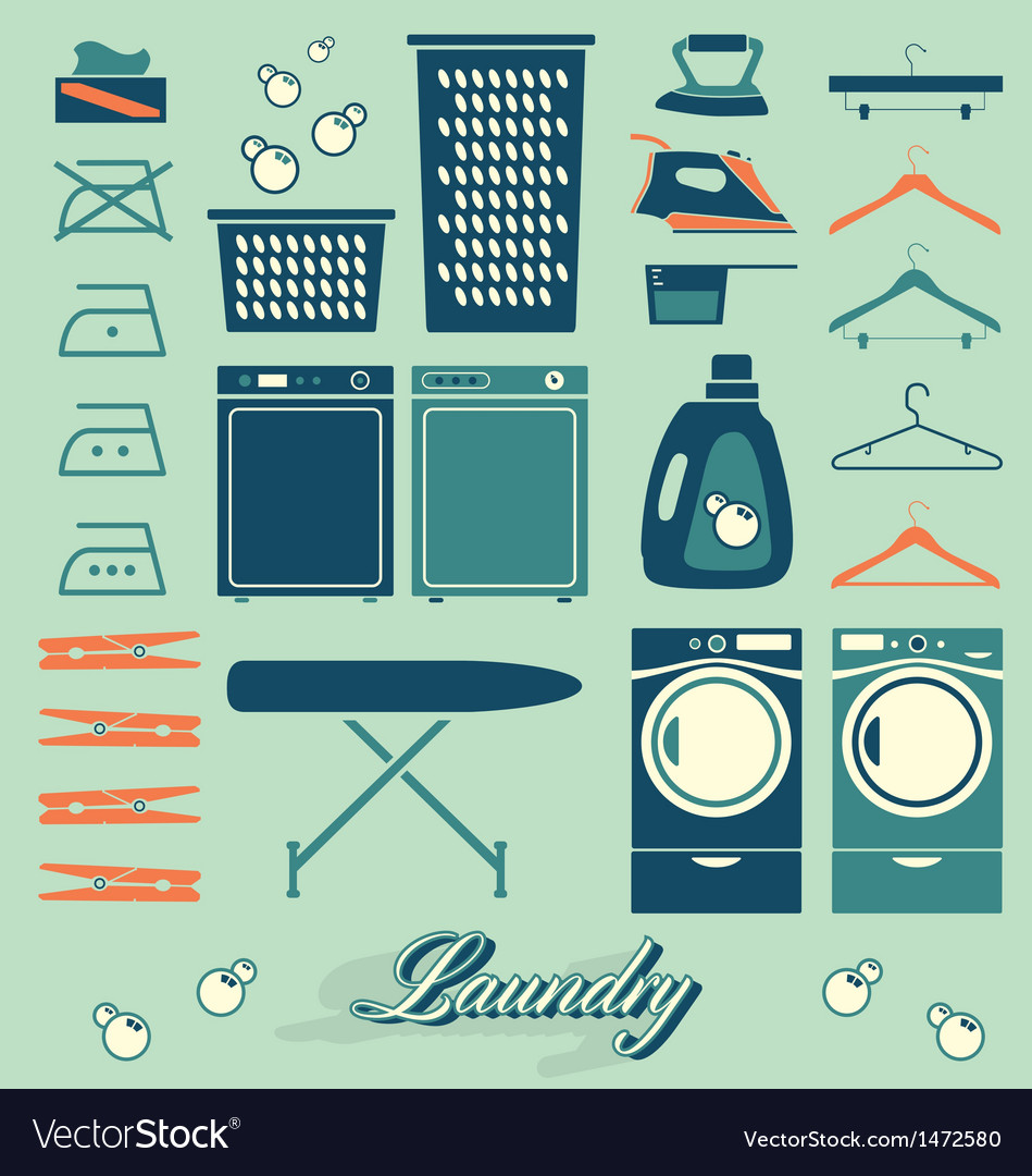 Retro laundry room symbols and icons vector
