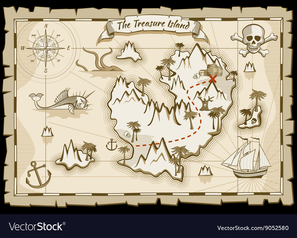Treasure pirate hand drawn map vector
