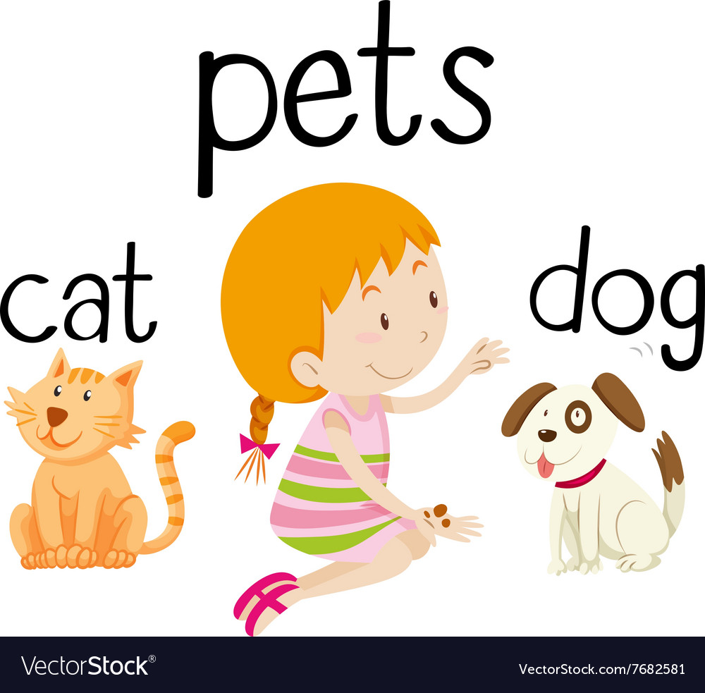 Little girl and her pets vector