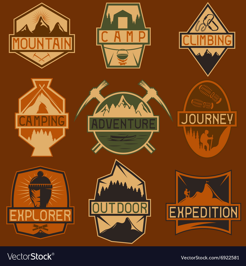 Set of vintage labels mountain adventure hiking vector