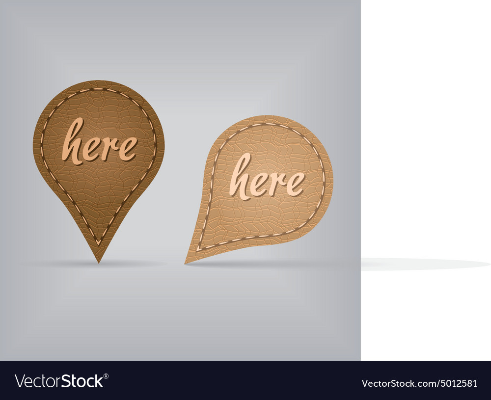 Two leather map signs vector