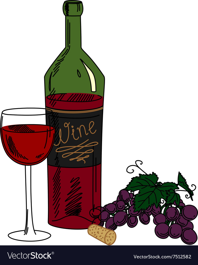 Bottle of wine grapes and a glass vector