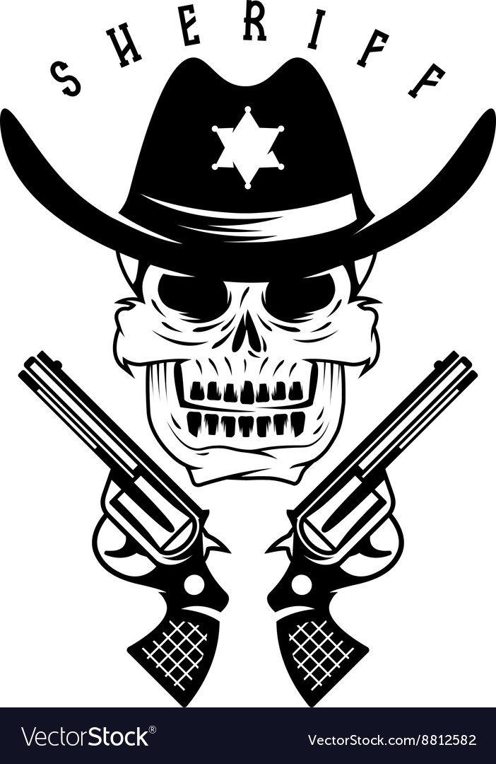 Label of sheriff skull in hat and guns vector