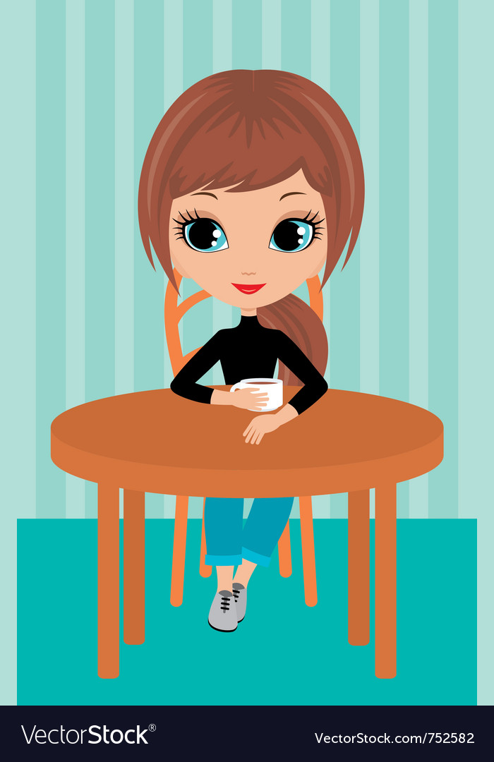 Pretty girl drinks coffee vector