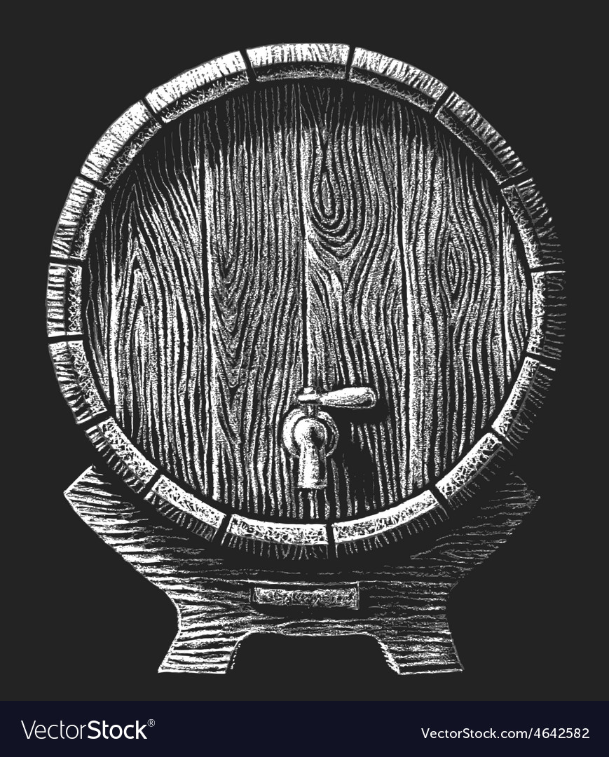 Wooden barrel drawn on the chalkboard vector