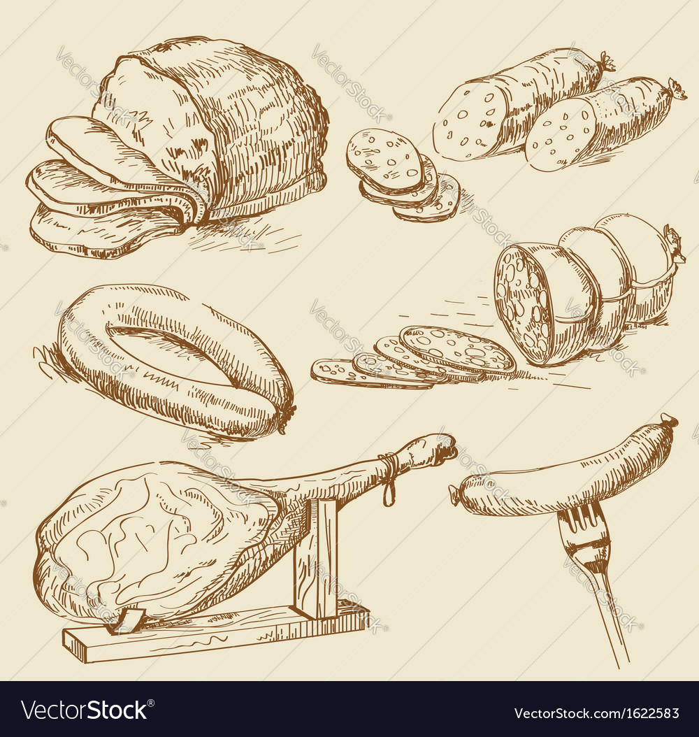 Meat collages vector