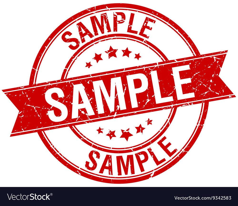 Sample grunge retro red isolated ribbon stamp vector