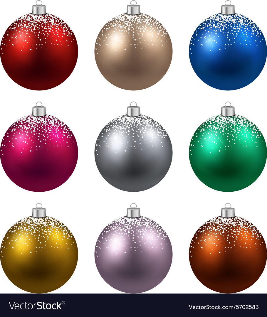 Set of realistic christmas balls vector