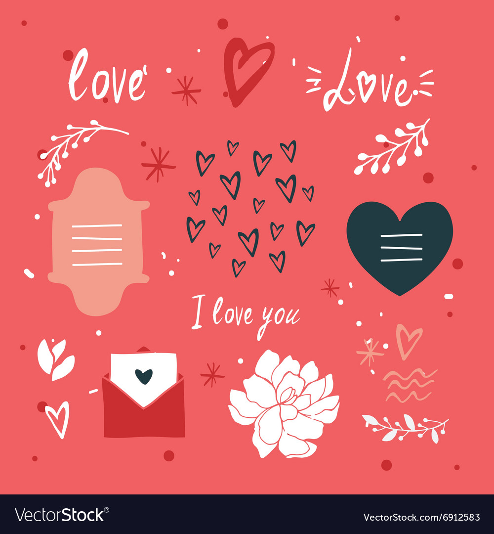 St valentines day lettering and cute design vector