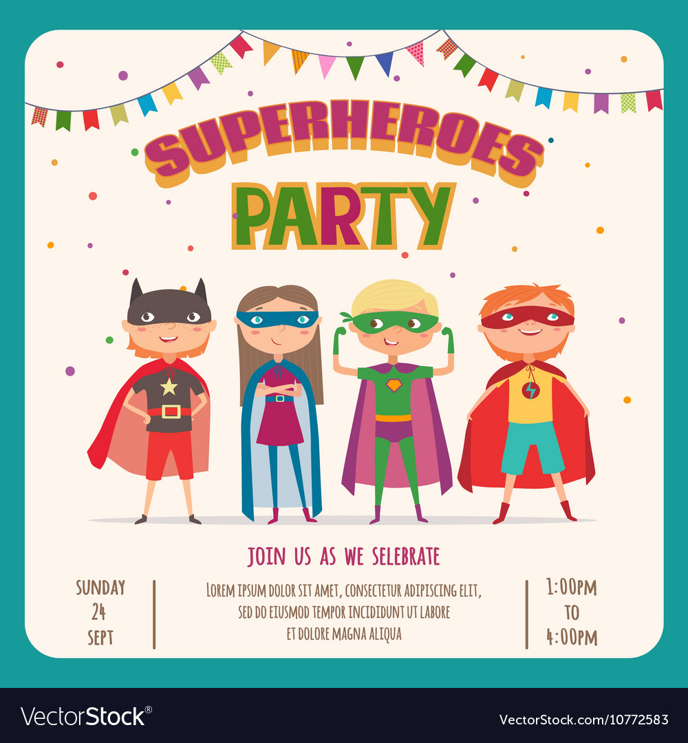 Superhero card invitation with group of cute kids vector