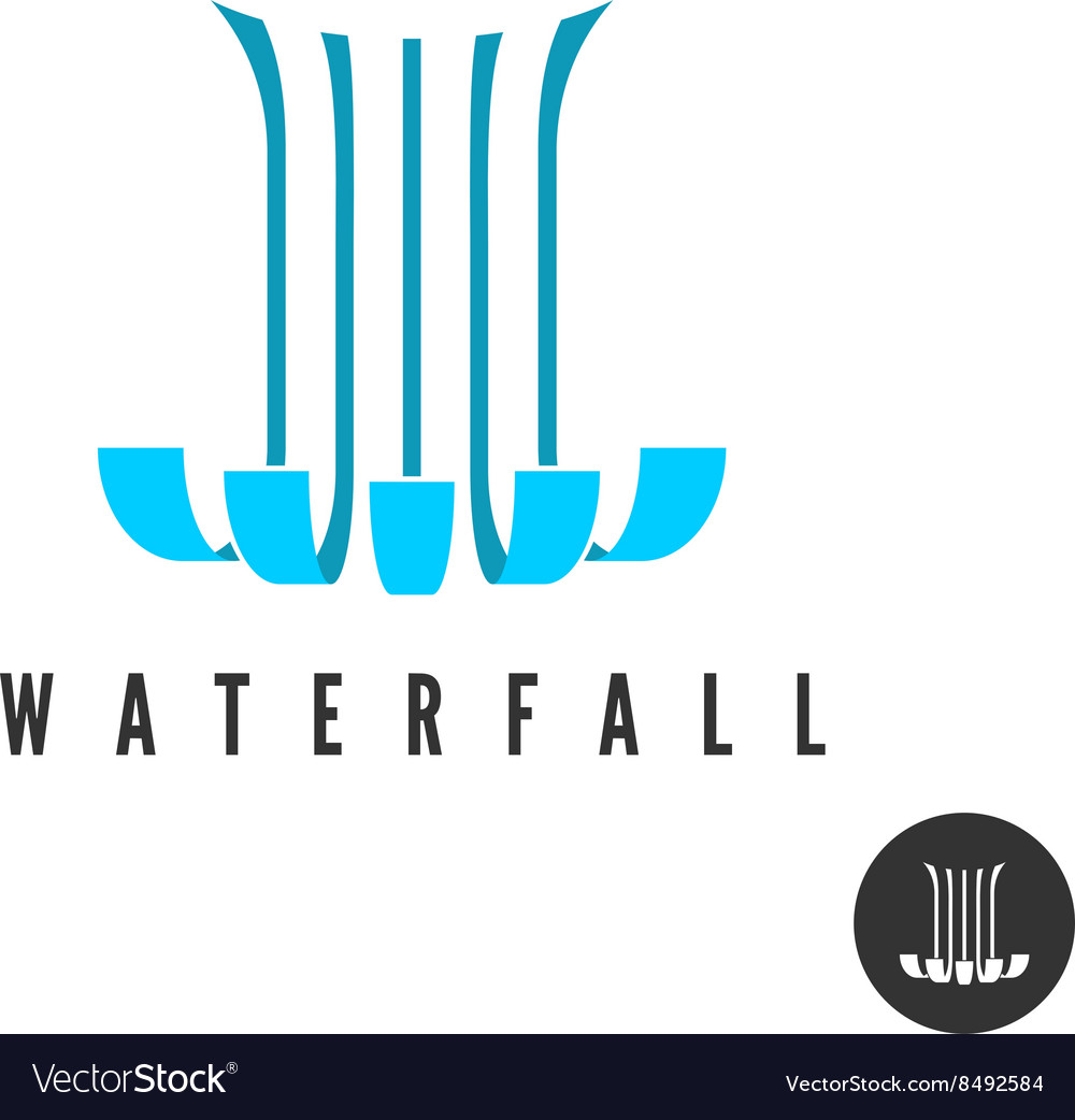 Waterfall logo parallel lines water wloods falling vector
