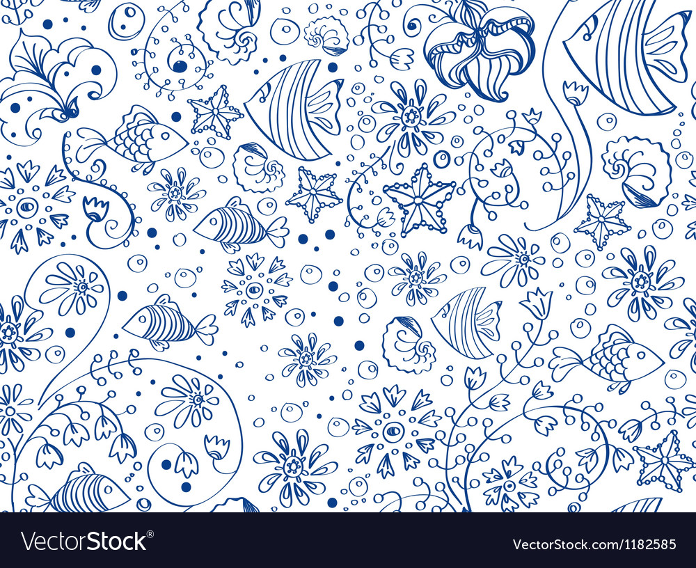 Seamless sea background vector