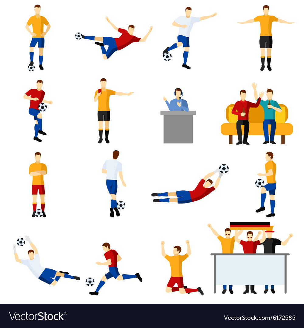 Soccer game people flat icons set vector