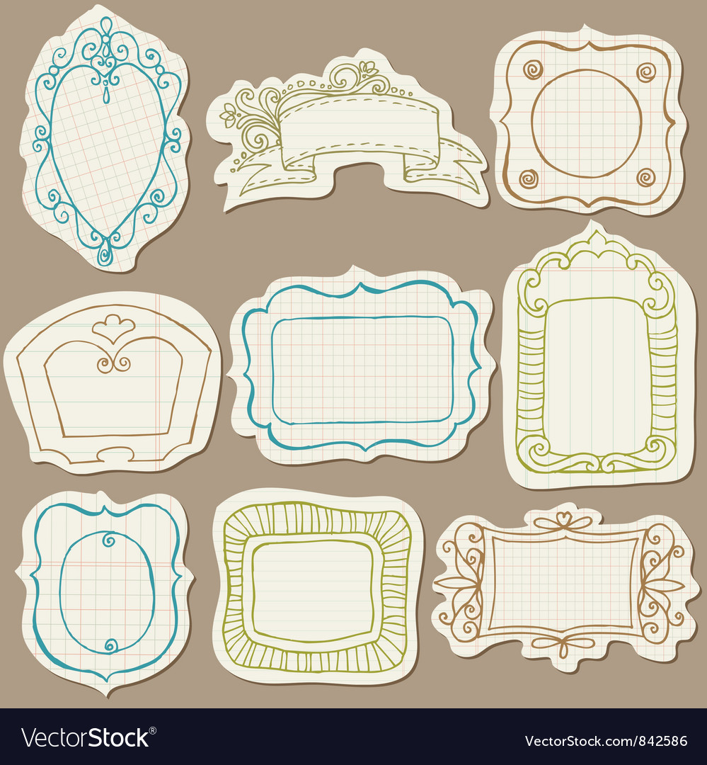 Set of doodle frames on torn paper vector
