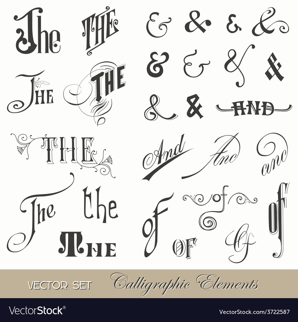 Calligraphic ands and thes  for design and scrap vector