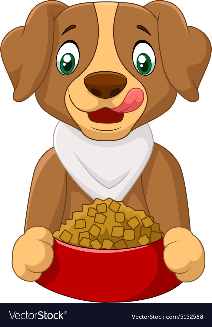 Dog with food vector