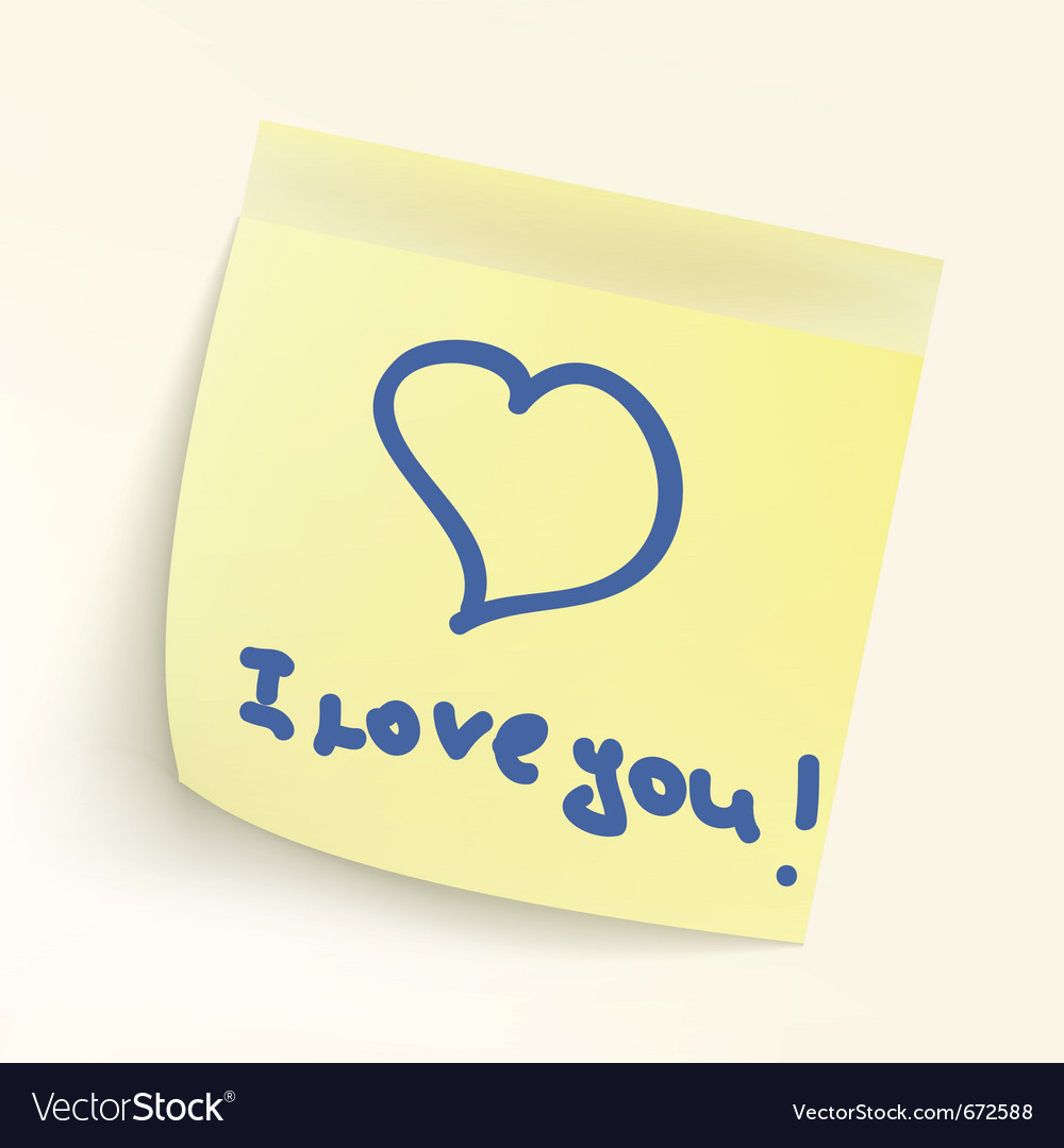 I love you paper note vector
