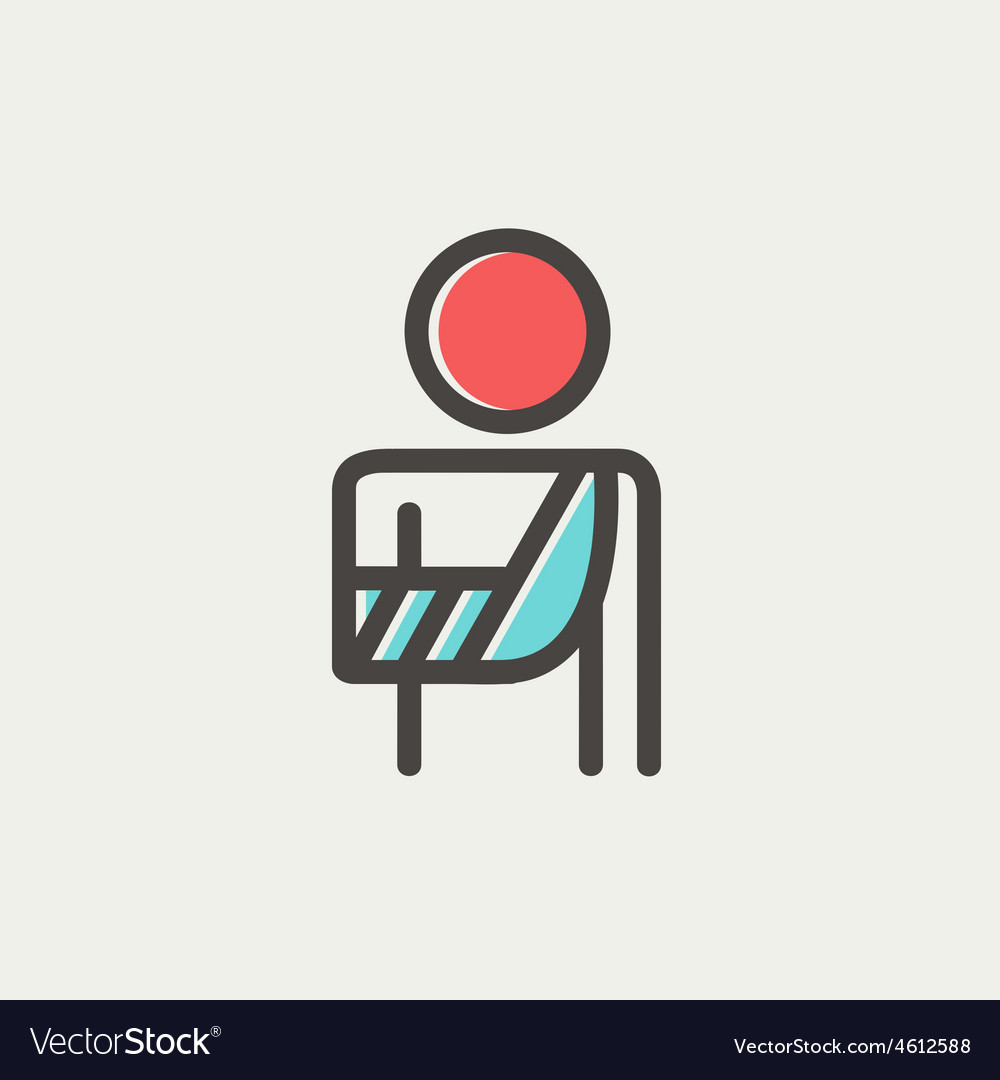 Injured man in bandages thin line icon vector