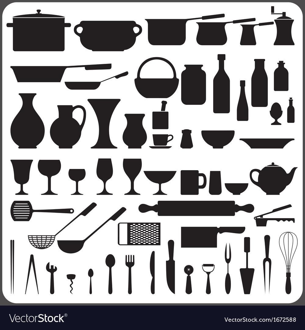 Kitchenware silhouettes set vector