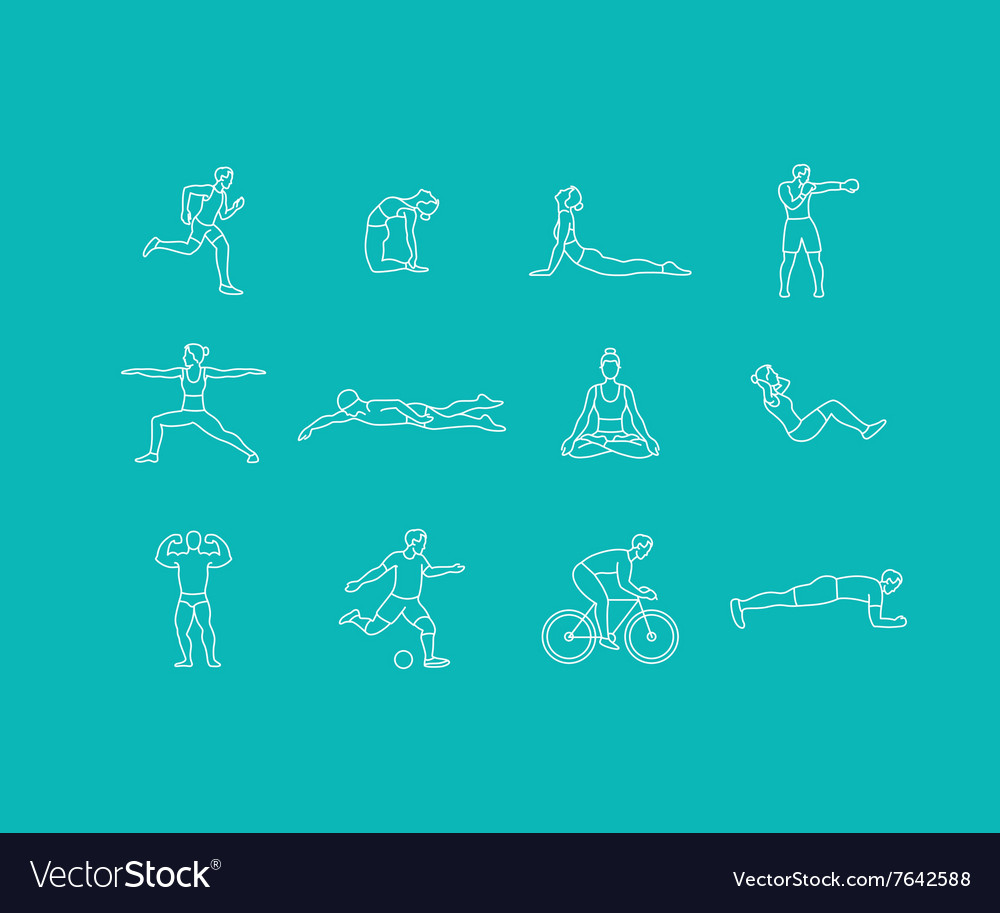 Set of linear sport icons vector