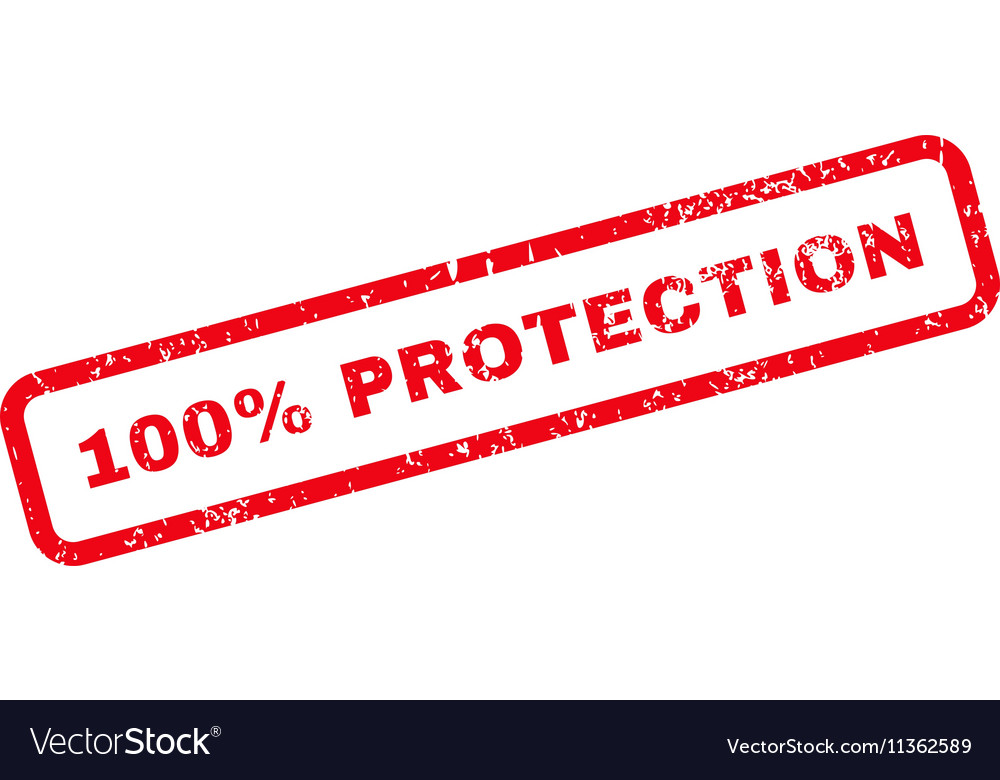 100 percent protection text rubber stamp vector