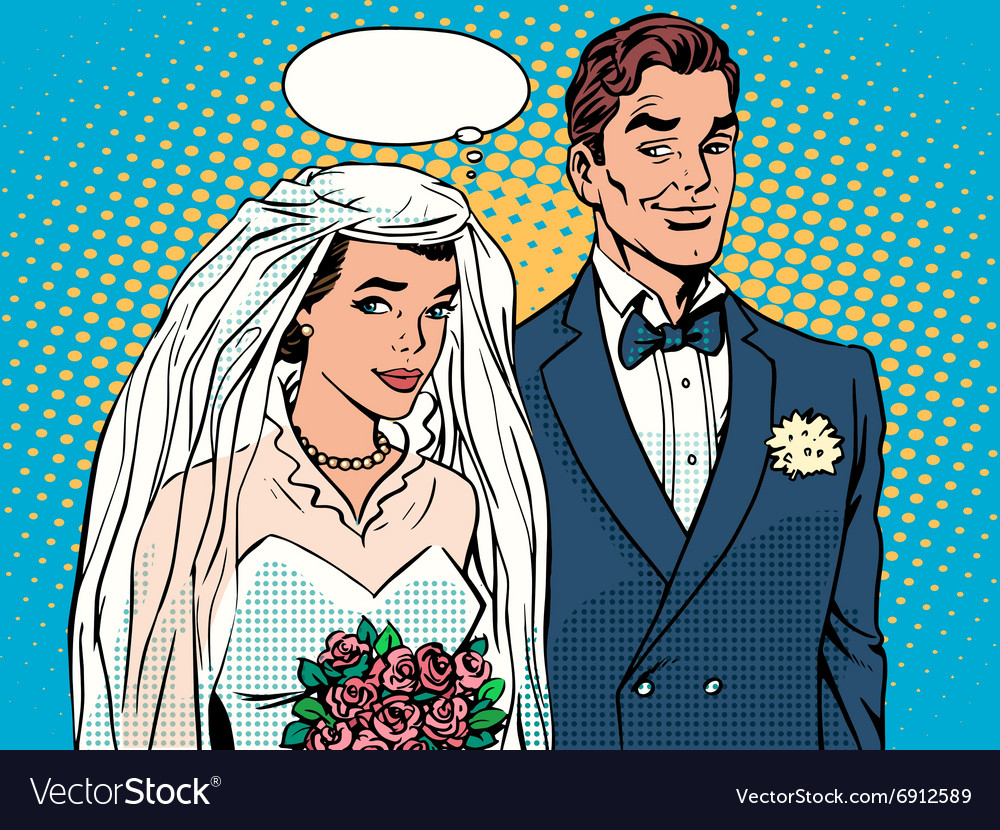 Bride and groom wedding ceremony vector
