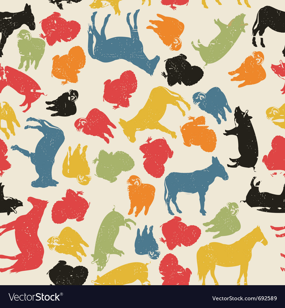Grunge farm animals vector