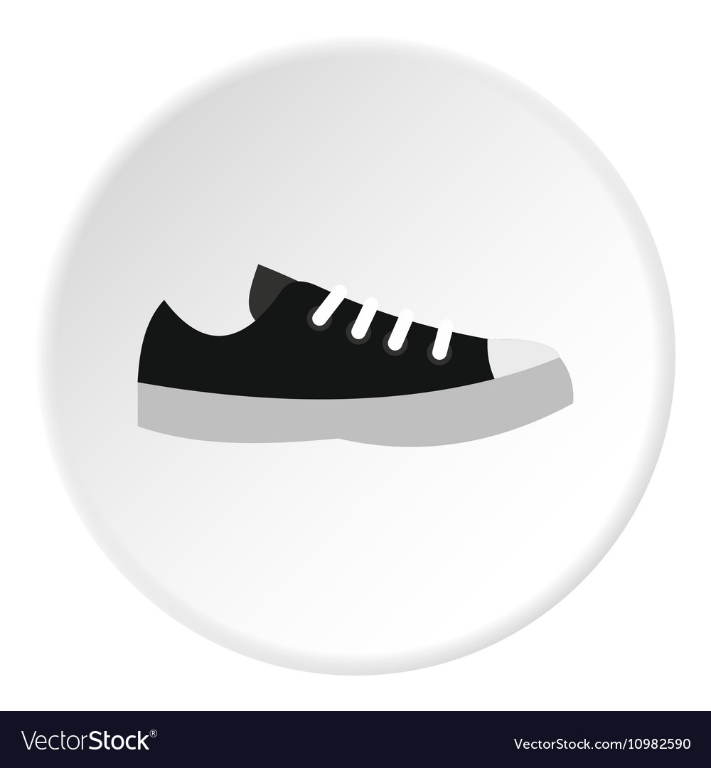 Black sneaker icon flat style vector