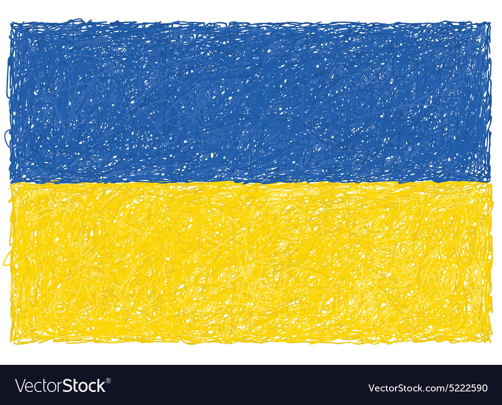 Hand drawn of flag of ukraine vector