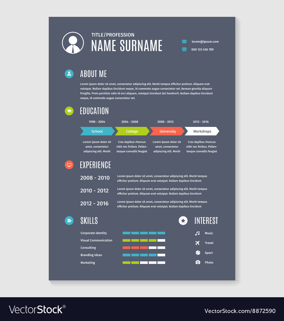 Resume cv template a4 letter vector